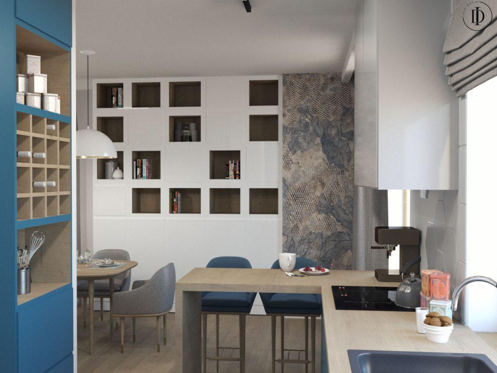 Salon z aneksem kuchennym, wnętrza pod klucz