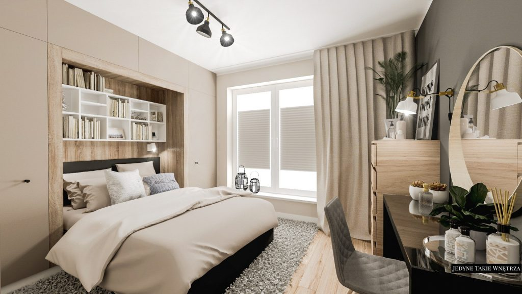 Hygge wnętrza projekt sypialni