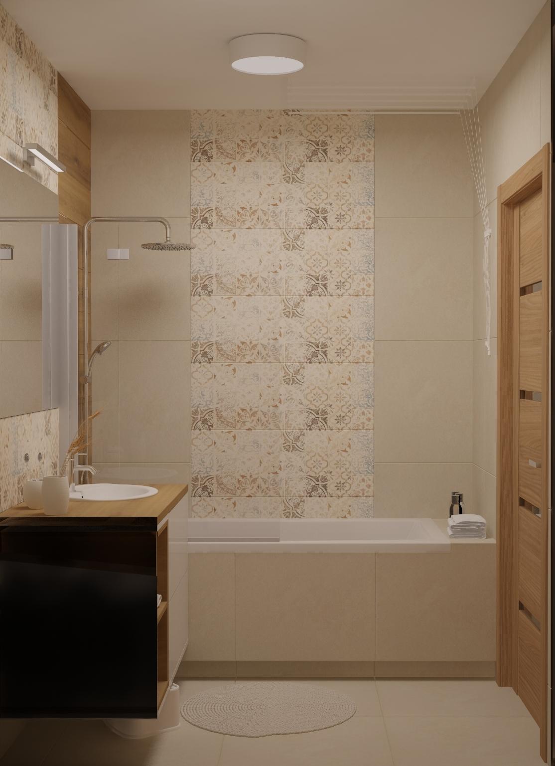 Łazienka kompleksowo wykończona. Armatura łazienkowa, projekt wnętrza